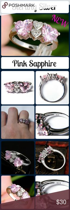 Sz 9 New Double Heart Sapphires and Diamond Ring New Pink Sapphire Ring. The double heart are genuine Sapphire with 2 hearts in the middle each with a diamond in the center. Set in Sterling Silver, stamped 925... Comes in a Gift Box, Shipped same day! Pink Sapphire Diamond Jewelry Rings