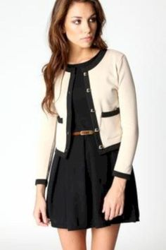 looks like an ideal work outfit, except it would be longer on me since I'm on the short-side! :) Also love the cardigan! Preppy Mode, Preppy Style, Style Me, Business Dress, Business Mode, Business Chic, Look Fashion, Autumn Fashion, Womens Fashion