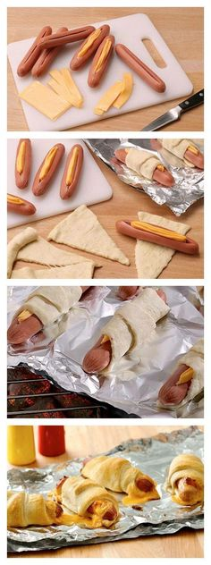 Cheesy crescent dogs without turning on the oven! Tips and tricks to make the perfect and easy afternoon snack. These Cheesy crescent dogs are a fan favorite! Snack Recipes, Cooking Recipes, Easy Party Food, Yummy Food, Tasty, Yummy Yummy, Kids Meals, Love Food, Food To Make