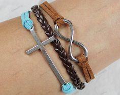 silver infinite cross braceletssilver bracelets by lifesunshine, $6.99