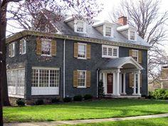 huge deep grey, love the huge white windows and shutters,