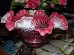 Large Vintage Fenton Cranberry Opalescent Hobnail Ruffled Bowl