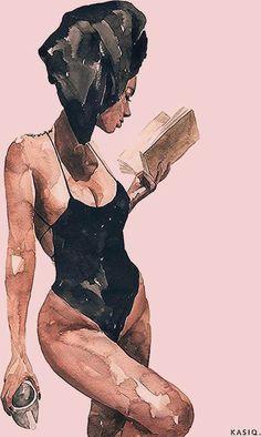 Illustration Girl, Watercolor Illustration, Watercolor Art, Girl Illustrations, Watercolour Drawings, Watercolor Portraits, Art Drawings Sketches, Sketch Art, Girl Sketch