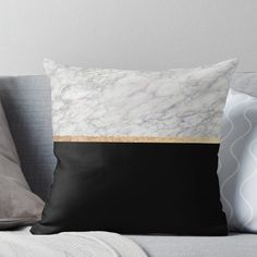'Black and gold marble IV' Throw Pillow by marbleco Gold Teen Bedroom, Black White And Gold Bedroom, Black And Gold Marble, Master Bedroom, Dream Bedroom, Girls Bedroom, Marble Bedroom, Marble Bedding, Gold Bedding