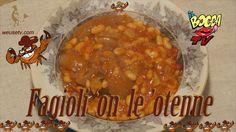 2013 - IlBoccaTV - Fagioli con le cotiche..per mangiate atomiche! Produzione: WeUSETV - http://www.weusetv.com/channel/ilboccatv Ilboccatv G+ : https://plus.google.com/1031948405438...   Ingredienti per 4 (Livornese): Fagioli 'on l'otenne (fagioli con le cotenne)  Tre etti di fagioli secchi peperoncino e n'paio di spicchi d'aglio, mezzo' ilo di passata di pomodoro 4 etti di 'otenne, sarvia, strutto, olio di vello bono, sale e pepe vanto basta