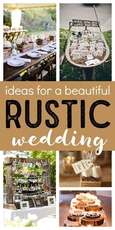 These beautiful rustic wedding ideas will inspire your decorations, table decorations, colors, centerpieces, cakes and more! So many great DIY ideas! Romantic Weddings, Unique Weddings, Beach Weddings, Rustic Weddings, Country Weddings, Vintage Weddings, Do It Yourself Wedding, Chic Wedding, Wedding Ideas