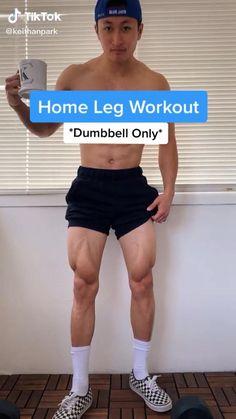 @ keithanpark on tiktok Leg Workout Plan, Gym Workout Chart, Abs And Cardio Workout, Calisthenics Workout, Gym Workout Tips, Weight Training Workouts, Dumbbell Workout, Leg Home Workout, Glutes Workout Men