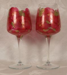 Hand Painted Wine Crystal Stems 2  Floral Bouquet by EverMyHart  - $35.00 includes shipping