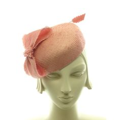 Peach Straw Pillbox Hat  Salmon Pink Cocktail by TheMillineryShop, $195.00