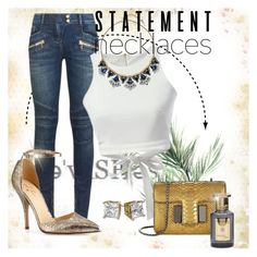 """""""bold blue statement"""" by jamie-lea-wellik ❤ liked on Polyvore featuring Balmain, WALL, Chloe + Isabel, Kate Spade, Tom Ford, Shay & Blue and statementnecklaces"""