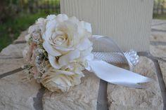 Ivory & Blush Peony Bouquet, Silk Wedding Flowers, Vintage Wedding, Broach Bouquet, Rustic Wedding, Shabby Chic Wedding, Petite Bouquet by MyDayBouquet on Etsy https://www.etsy.com/listing/181935625/ivory-blush-peony-bouquet-silk-wedding