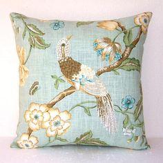 Light Aqua Floral Pillow Cover Decorative 18 Sea by PillowStars