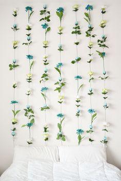 super cute idea! / DIY Flower Wall Headboard