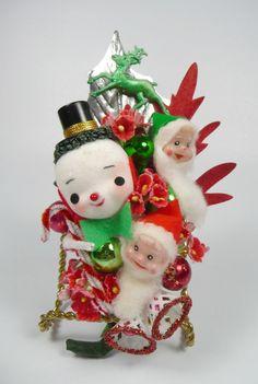 Christmas Corsage Vintage Snowman Elves Reindeer Retro by meaicp