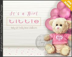 It's a Girl | Nursery Table Styling | Pink Teddy Bear Confetti Balloons | Blank wall Styled Stock Photography | JPG Styled Table Scene T6-2