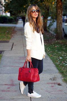 pale pink blazer, white chucks, and a Loewe Amazona bag