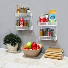 2-Tier White Countertop and Wall Mount Multipurpose Spice Rack Organizer