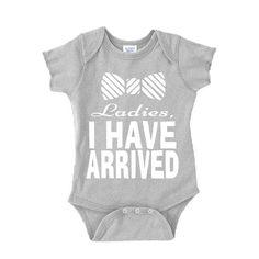 Etsy listing at https://www.etsy.com/listing/222329289/ladies-i-have-arrived-baby-onesie-white