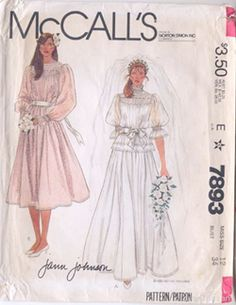 McCalls 7893 Vintage 1980s Jann Johnson Wedding Dress Pattern B34