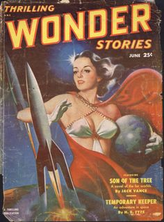 scificovers:  Nice rockets!  Thrilling Wonder Stories June 1951. Cover by Earle Bergey.