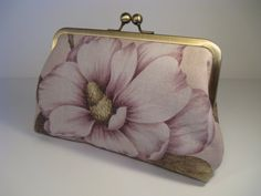 Magnolia Linen Clutch Purse ♥ by lostintimeinc