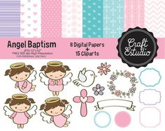Bautizo Angel, Papel Digital, Instant Download, High Resolution, PNG Clipart, Bautizo Niña, Digital Kit, JPG Scrapbooking, Pastel Colors