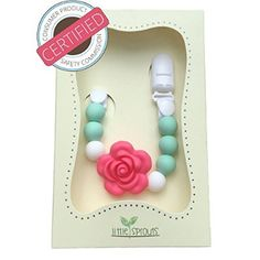 2 in 1 Pacifier Clip - Teething Baby Silicone Beads with Unique Shapes - Girl's Binky Holder - Best for Teether Toys, Stuffed Animals, Soothie/MAM, Infant Blankets & Drool Bibs