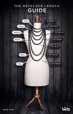 Short and useful necklace length guide for online shoppers. Pearl Jewelry, Beaded Jewelry, Jewelery, Amber Jewelry, Necklace Sizes, Necklace Lengths, Necklace For Neckline, Necklace Length Chart, Chain Length Chart