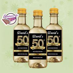 50th Birthday Mini Wine Labels  Gold Mini Wine by AnnounceItFavors