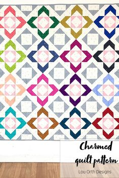 A delicate HST block quilt. Comes in 4 different sizes. Pattern by Lou Orth Designs Quilting Tutorials, Quilting Designs, Sewing Tutorials, Pattern Blocks, Quilt Patterns, Sewing Patterns, Charm Quilt, Modern Traditional, Love Sewing