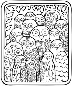 'Birds Of A Feather' from sande.reminds me kind a little of Russian Nesting Dolls? Owl Coloring Pages, Pattern Coloring Pages, Coloring Sheets, Coloring Books, Kids Colouring, Zentangle, Owl Art, Bird Feathers, Owl Feather