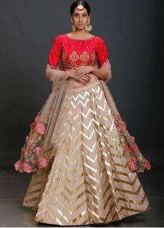 Beautiful Lehenga-Choli with superb embellishments with embroidery and gota patti.