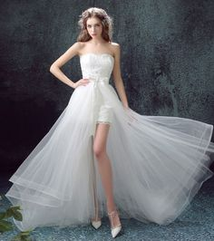 High Low wedding dress with Detachable skirt at Bling Brides Bouquet Online Bridal Store