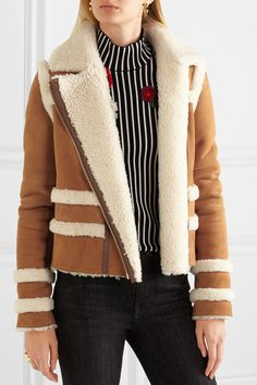 Balenciaga Logo-collar aviator shearling jacket ($3,390) ❤ liked ...