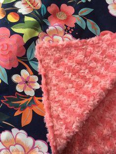 navy Floral Nursery Coral Nursery Baby Blanket by DwellDarling