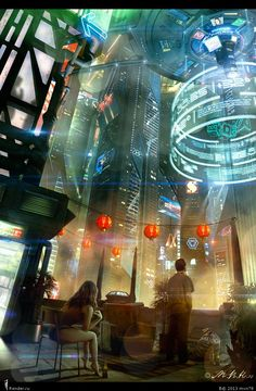 ideas science fiction illustration shadowrun for 2019 Arte Cyberpunk, Cyberpunk City, Ville Cyberpunk, Futuristic City, Fantasy Anime, Sci Fi Fantasy, Sci Fi Environment, Environment Design, Future City