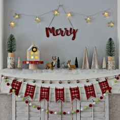 Fun, colorful Christmas mantel