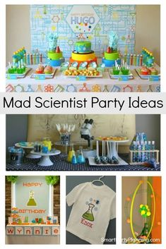 Easy Mad Scientist party ideas that all the kids will love. The kids can enjoy creating experiments in a party environment that has been decorated to look like a lab. Use simple party decor and food ideas to give the party an edge and for some explosive fun. Mad Scientist Party, Planes Party, Creative Party Ideas, Food Ideas, Decor Ideas, Party Themes For Boys, Science Party, Party Activities, 3 Kids