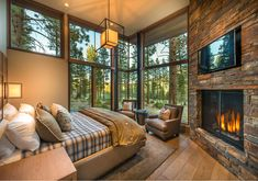 Windows in corner Modern mountain home built by NSM Construction in Martis Camp, Truckee. Architecture by Swaback Partners pllc. Modern Mountain Home, Luxury Cabin, Cabin Interiors, Mountain Home Interiors, Cabin Homes, Modern House Design, Cabin Design, Home Decor Bedroom, Bedroom Ideas