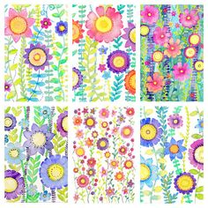 6 x A6 Floral Prints Wild And beautiful by MooredInWhitstableUK