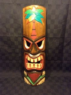 "20"" Wood Carved Tall Chesapeake Bay Hawaiian Tiki Mask Decor Wall"