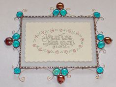 """*TEACHER GIFT* Stained Glass Plaque """"You Are a Very Special Teacher Becuase You Were Important in the Life of a Child"""" ~ Beautiful calligraphy on embossed, hand painted flowered paper between glass $48"""