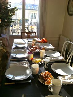 Setting the table for a simple Parisian breakfast