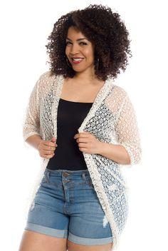Boho in Soho Plus Size Crochet Cadigan - Taupe