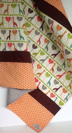 Modern Baby Quilt, Giraffe,Organic, Safari Soirée,Birch Fabric, Hearts, Brown, Orange, Pink, Green, Teal, Polka Dots