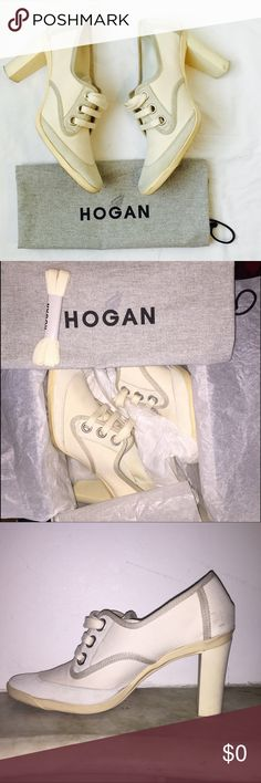 Hogan Suede & Canvas Booties Hogan light gray and white suede and canvas lace up athleisure shoes. Leather interior, with rubber sole and heel, in an attractive winter white hue. Gently used, see pics. Extra laces, dustbag and box included. Hogan Shoes Ankle Boots & Booties
