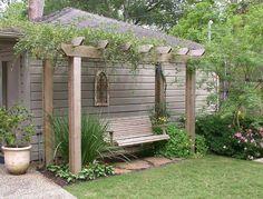 Pergola Patio, Backyard Landscaping, Pergola Kits, Landscaping Ideas, Modern Pergola, Back Gardens, Outdoor Gardens, Garden Swing Seat, Arbor Swing