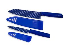 Kuhn Rikon Colori Art Chef's and Paring Knife, Blue Polka Dot
