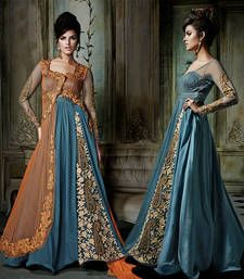 Blue and Orange embroidered Georgette semi stitched salwar with dupatta shop online