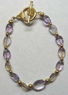 Ametrine Bracelet by treasuresbycathy on Etsy, $24.95 Jewellery Bracelets, Gemstone Jewelry, Amethyst Earrings, Bracelet Watch, Swarovski Crystals, Lavender, Quartz, Gemstones, Watches